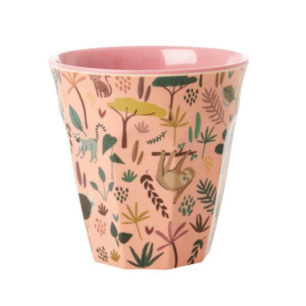 RICE Jungle Animal Print Medium Cup coral