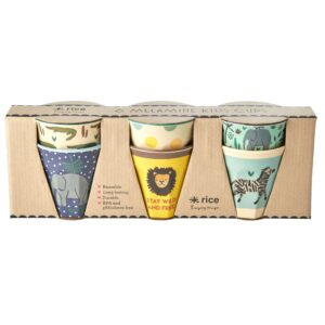 RICE Jungle Print Set of 6 Cups - blue