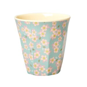 Medium Melamine Cup blue with small flower print by RICE