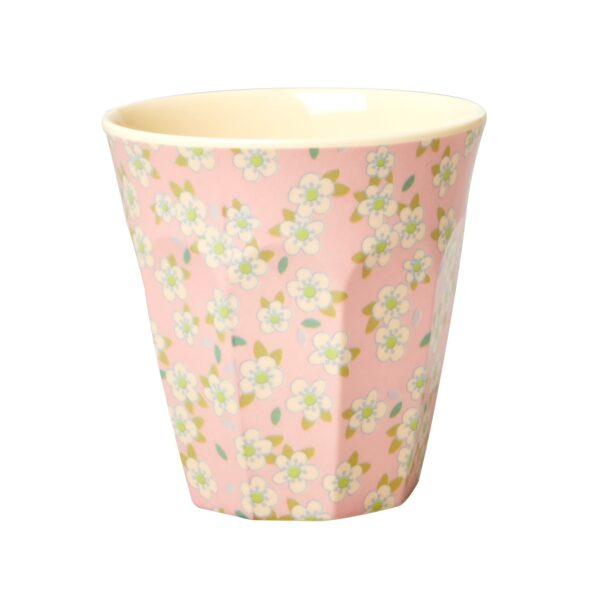 Medium Melamine Cup pink with small flower print by RICE