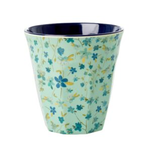 Medium Melamine Cup with Blue Flower Print by RICE