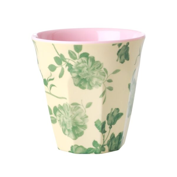 Medium Melamine Cup with Green Rose Print by RICE