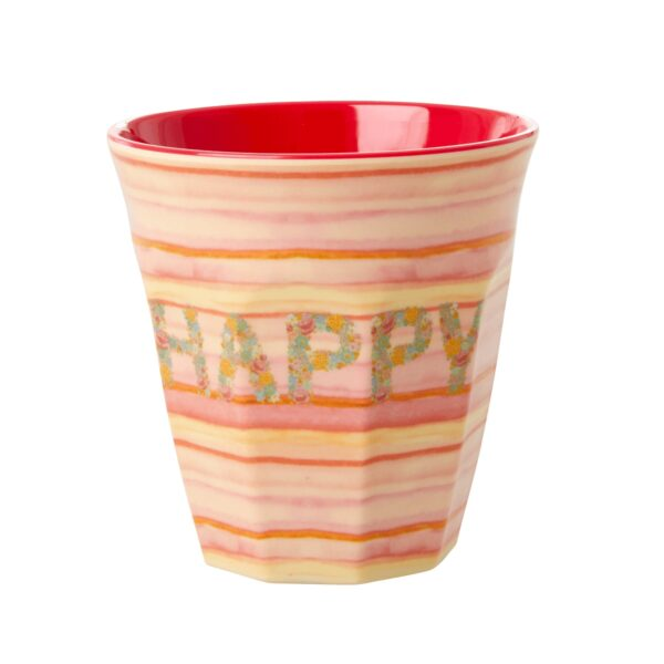 Medium Melamine Cup with Happy Pink Print by RICE