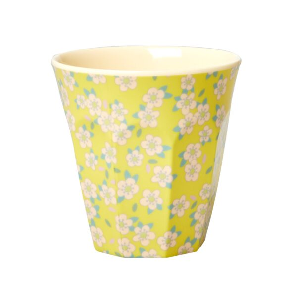 Medium Melamine Cup yellow with small flower print by RICE