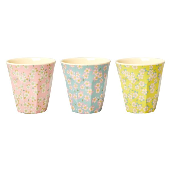 Medium Melamine Flower Cups in 3 Colours By RICE