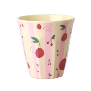 Medium Melamine Cup with Cherry Print by RICE