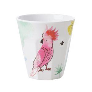 Medium Melamine Cup Cockatoo Print by RICE