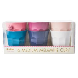 Set of 6 Medium Melamine Cups Simply Yes Colours