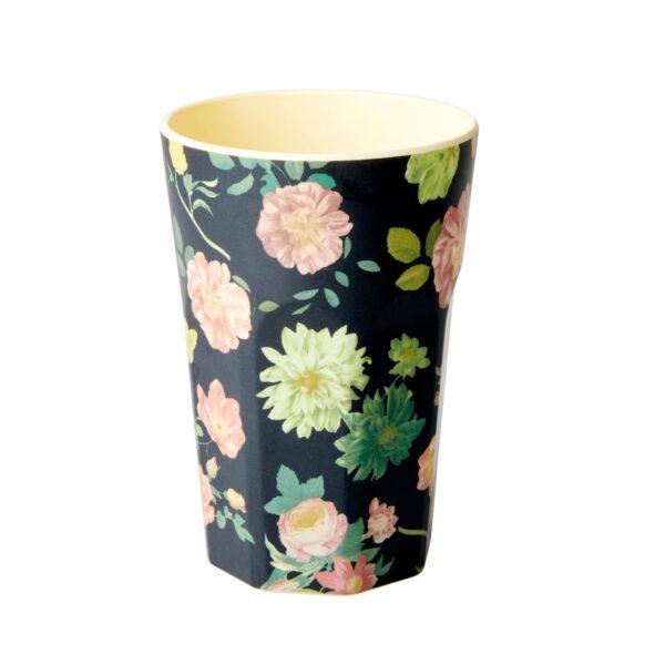 Tall Melamine Cup Dark Rose Print by RICE