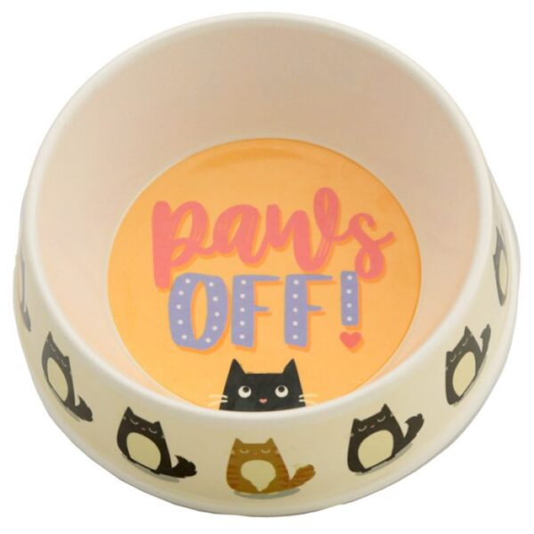 Cat Bowl Paws Off - Bamboo BAMB76_001_1600870645