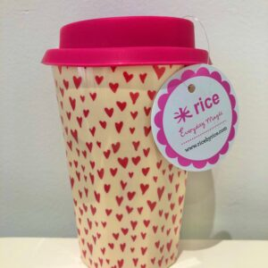 Little Heart Print Latte Cup with Lid