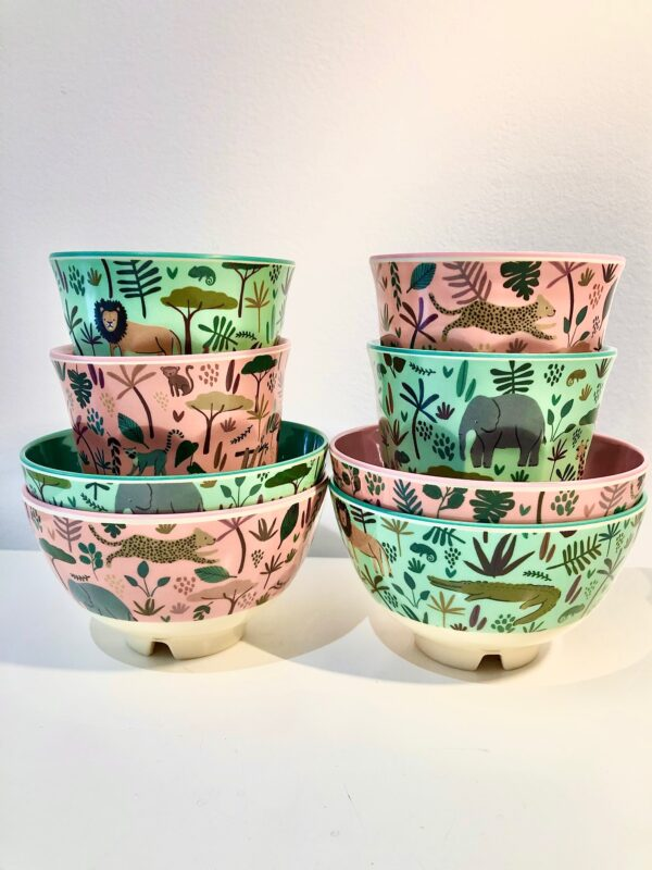 childrens jungle animal set 4xbowls 4xcups