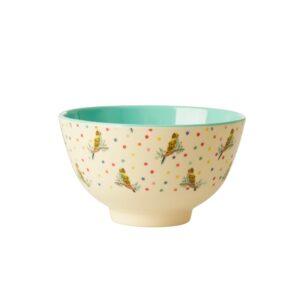 Budgie Print Rice Bowl