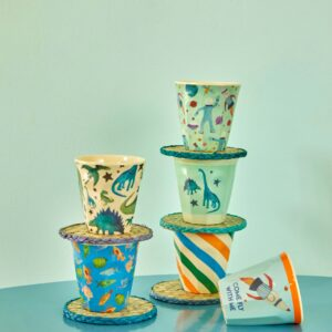 SMALL MELAMINE CUP - ASSORTED COLORS - DINOSAURS PRINT