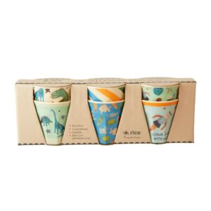 SMALL MELAMINE CUP set of 6 - ASSORTED COLORS - DINOSAURS PRINT