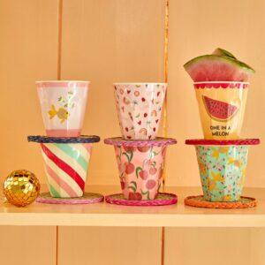 Set of 6 small melamine cups goldfish print lifestyle