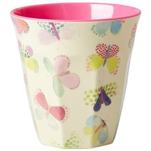 Melamine-Medium-Cup-Two-Tone-with-Butterfly-Print-by-Rice-DK