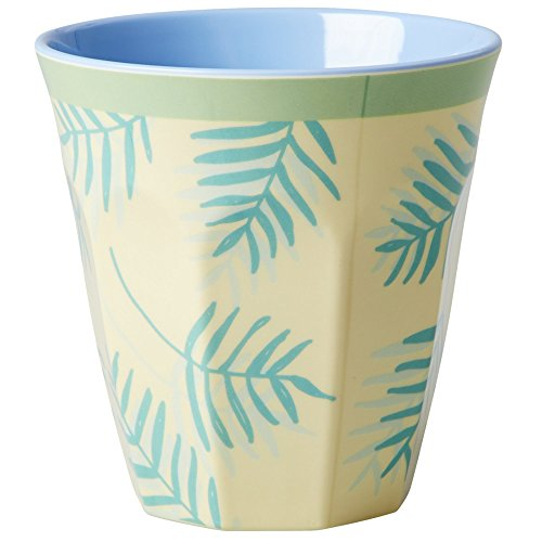 Melamine-Medium-Cup-Two-Tone-with-Palm-Leaves-Print-by-Rice-DK